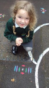 Learning about celebrations, including 'Diwali.' Creating 'Rangoli patterns.'